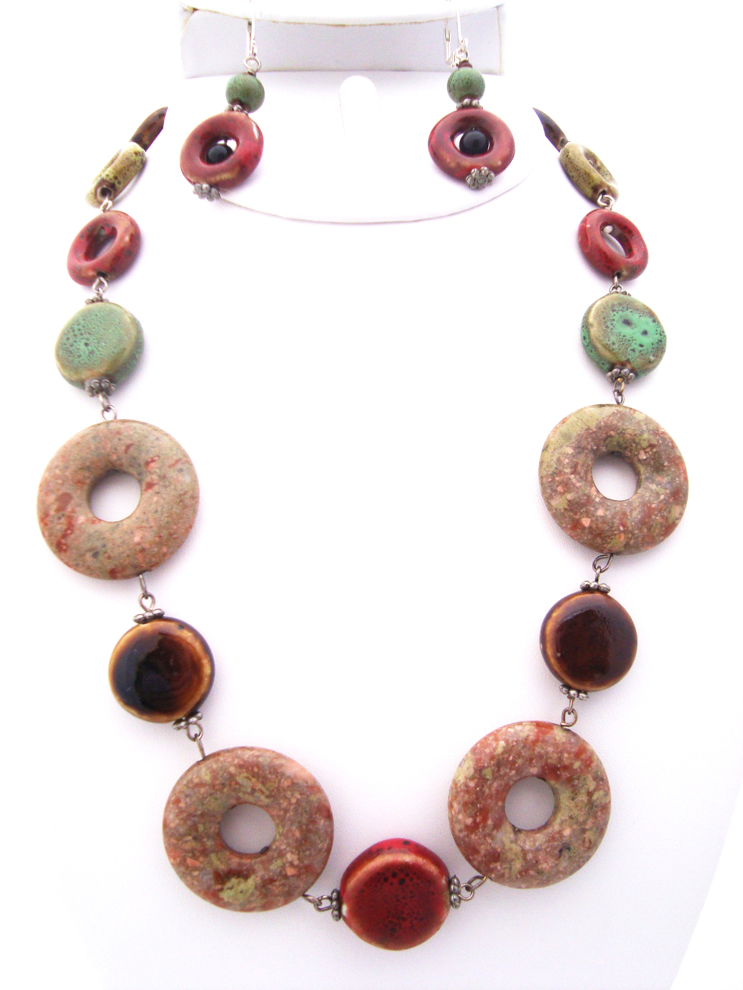 Circle Cut Fancy Jasper and Ceramic Beaded Necklace Set