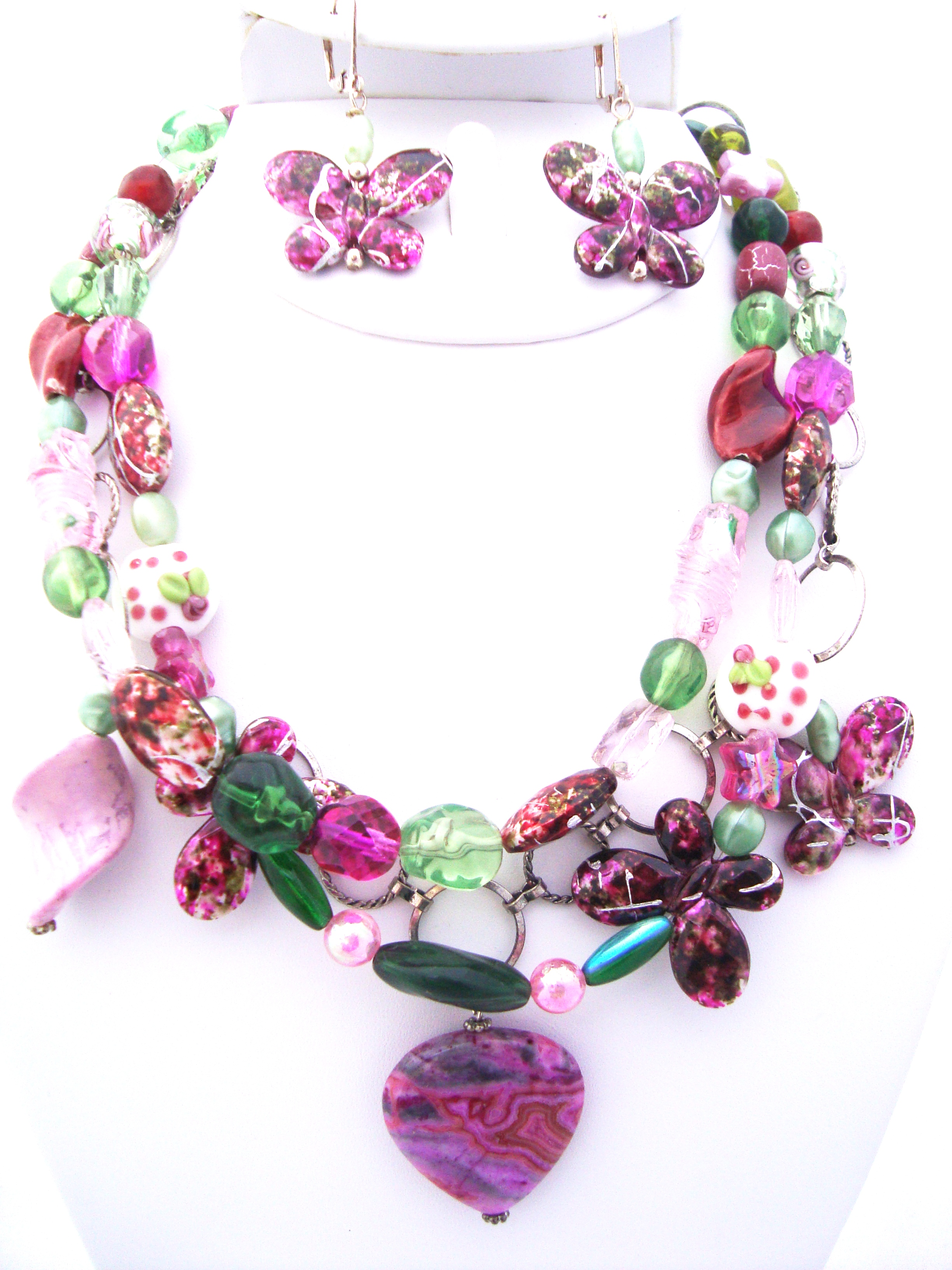 Triple-Strand Layered Pink and Green Necklace Set