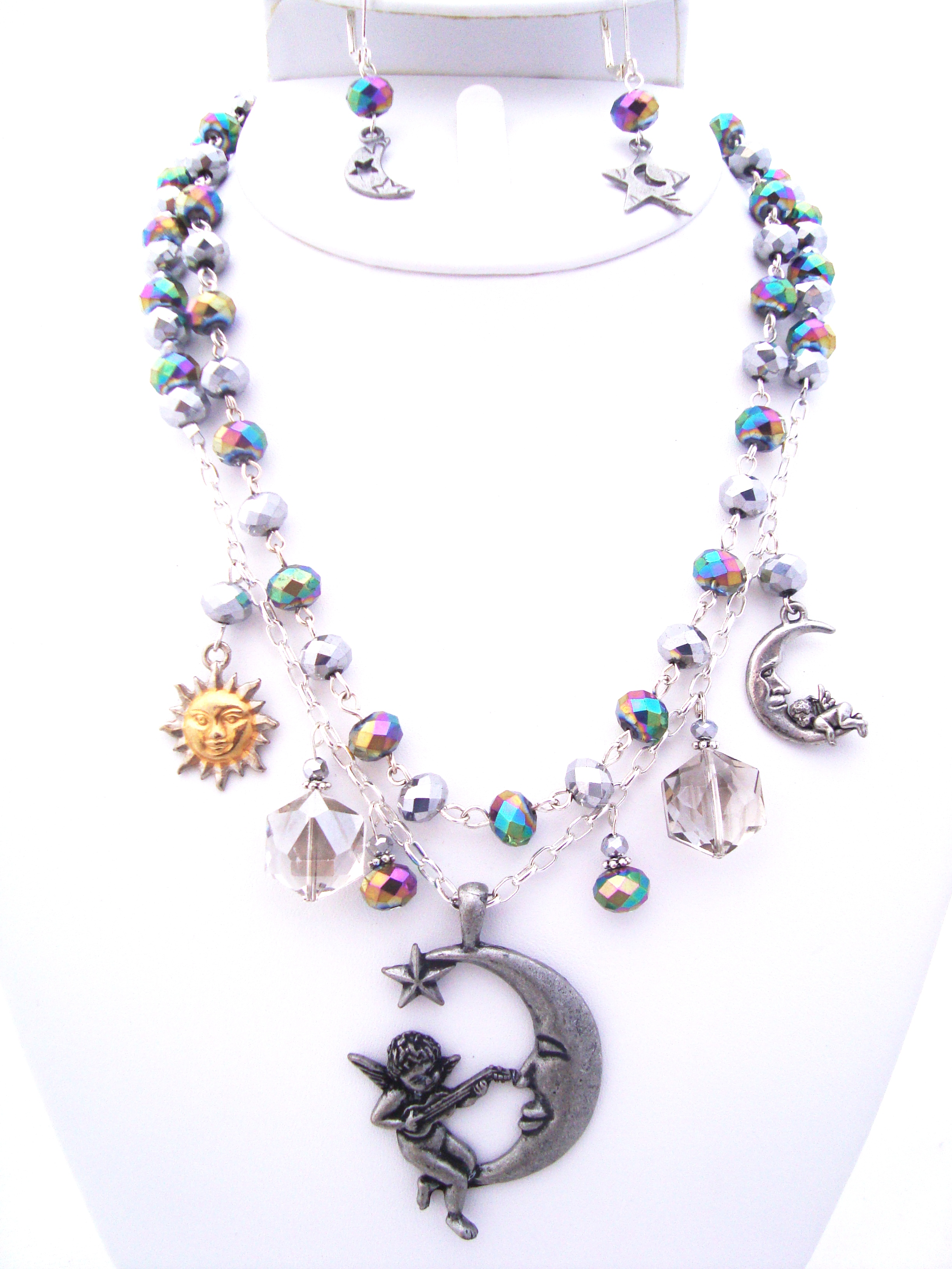 Moon and Star Crystal Necklace Set