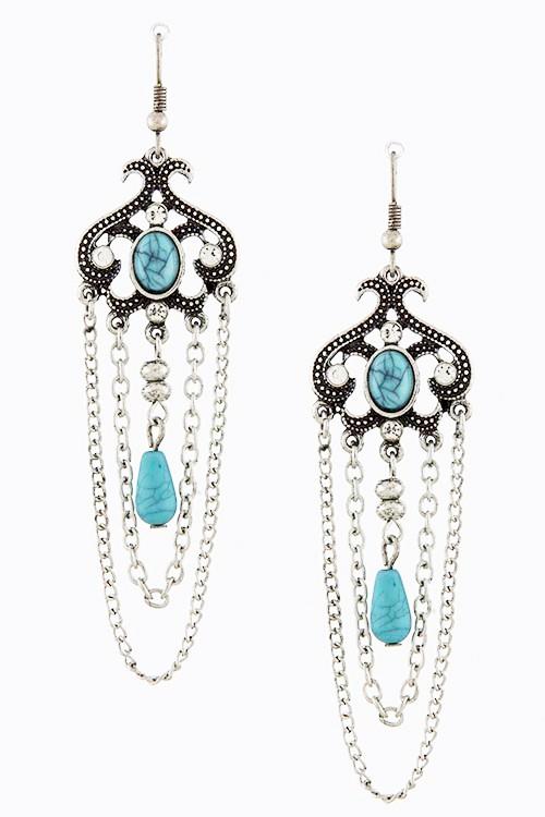 Filigree Ornate Chain Tiered Drop Earrings Teresas Precious Beads