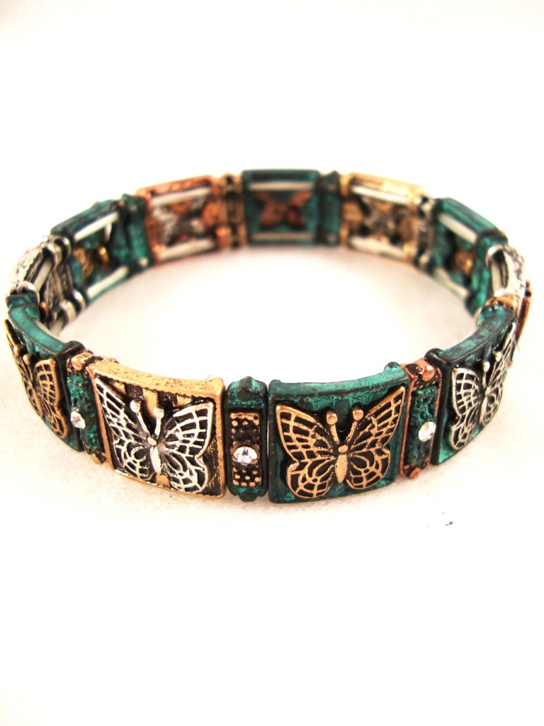Patina Copper and Silver Butterfly Squares Bracelet